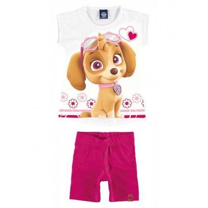 Conjunto Infantil Feminino Branco Patrulha Canina Malwee