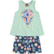 Conjunto Infantil Feminino Azul Balão Kyly