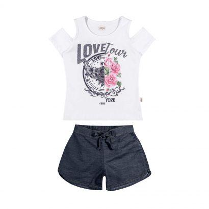 Conjunto Infantil Feminino Branco Love Elian
