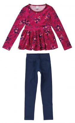Conjunto Infantil Feminino Inverno Rosa Florzinhas Malwee