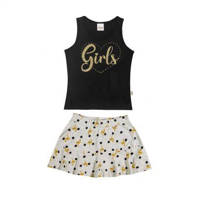 Conjunto Infantil Feminino Preto Girls Elian