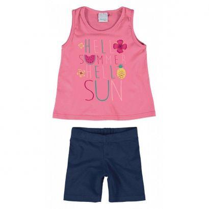 Conjunto Infantil Feminino Rosa Hello Summer Malwee