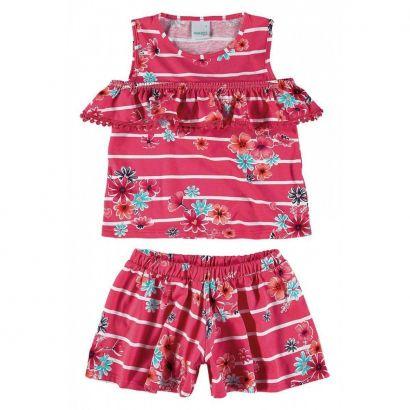 Conjunto Infantil Feminino Rosa Listras Malwee