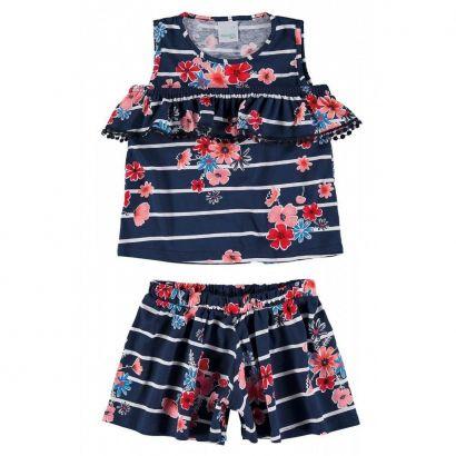 Conjunto Infantil Feminino Azul Marinho Listras Malwee