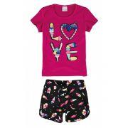 Conjunto Infantil Feminino Rosa Love Malwee