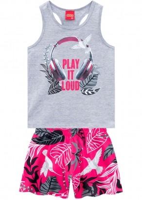 Conjunto Infantil Feminino Short e Camiseta Magenta - Kyly