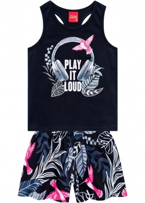 Conjunto Infantil Feminino Short e Camiseta Preto - Kyly
