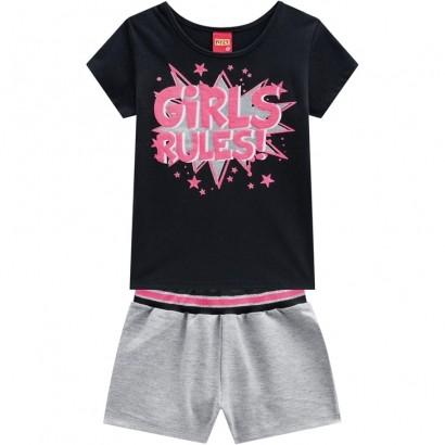 Conjunto Infantil Short e Camiseta Feminino Preto - Kyly