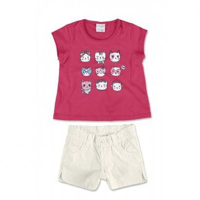 Conjunto Infantil Feminino Rosa Gatinhos Malwee