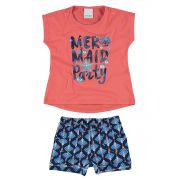 Conjunto Infantil Feminino Salmão Mermaid Party Malwee