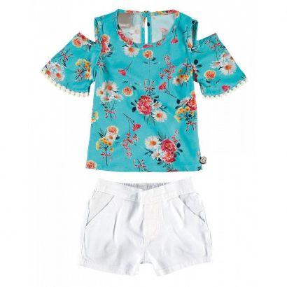 Conjunto Infantil Feminino Turquesa Floral Carinhoso