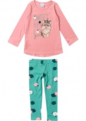 Conjunto Infantil Feminino Inverno Rosa Dog Malwee