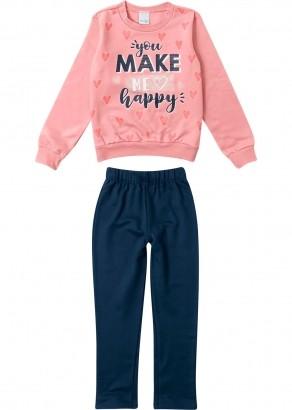 Conjunto Infantil Feminino Inverno Rosa Happy Malwee