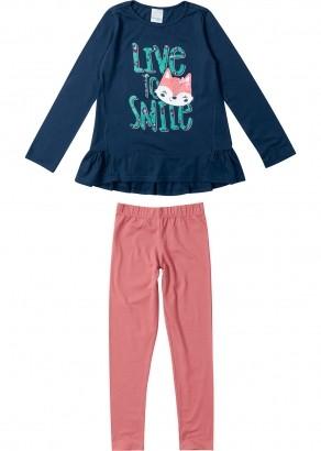 Conjunto Infantil Feminino Inverno Azul Raposa Malwee