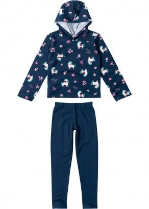 Conjunto Infantil Feminino Azul Estampado Inverno Malwee