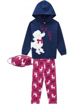 Conjunto Infantil Feminino Azul Inverno Poodle Kyly