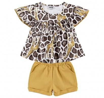 Conjunto Infantil Feminino Verão Branco Giraffe Nanai