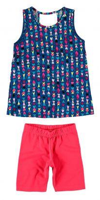 Conjunto Infantil Feminino Azul Marinho Corações Malwee