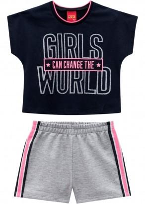 Conjunto Infantil Feminino Cropped e Short Preto - Kyly