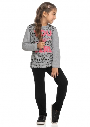 Conjunto Infantil Feminino Inverno Cinza Girl - Elian