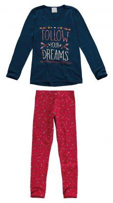 Conjunto Infantil Feminino Inverno Marinho Dreams Malwee
