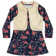 Vestido Infantil Inverno Marinho Flores Elian