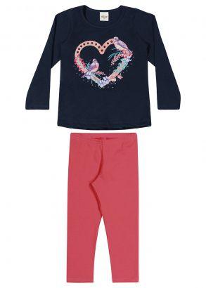 Conjunto Infantil Feminino Inverno Azul Coração Elian