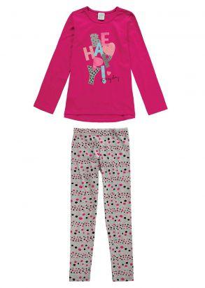 Conjunto Infantil Feminino Inverno Rosa Be Happy Malwee