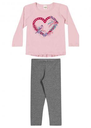 Conjunto Infantil Feminino Inverno Rosa Coração Elian