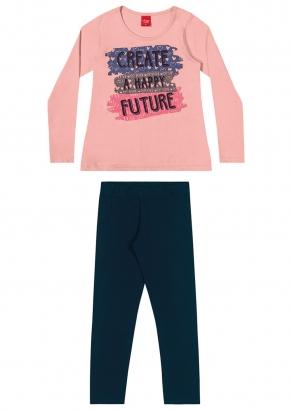 Conjunto Infantil Feminino Inverno Rosa Future - Elian
