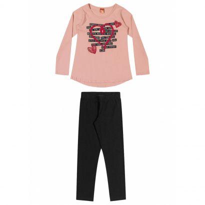 Conjunto Infantil Feminino Inverno Rosa Heart Elian