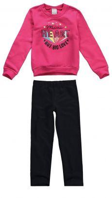 Conjunto Infantil Feminino Inverno Rosa Heart Malwee