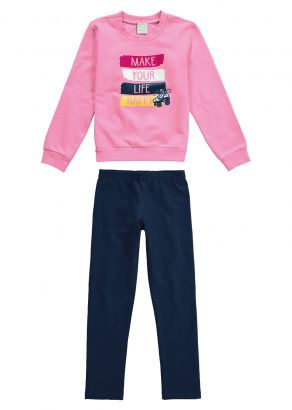 Conjunto Infantil Feminino Inverno Rosa Make Malwee