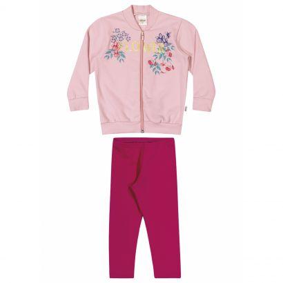 Conjunto Infantil Feminino Inverno Rosé Flores Elian