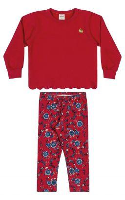 Conjunto Infantil Feminino Inverno Vermelho Flores Elian