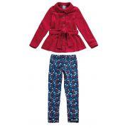 Conjunto Infantil Feminino Inverno Vermelho Florzinha Malwee