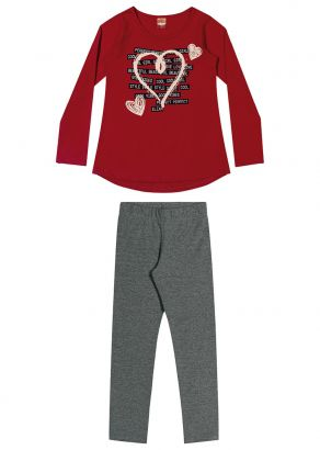Conjunto Infantil Feminino Inverno Vermelho Heart Elian