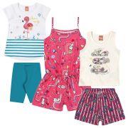 Conjunto Infantil Feminino Verão Kit 3 Rosa Elian