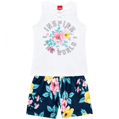 Conjunto Infantil Feminino Verão Branco Inspire Kyly