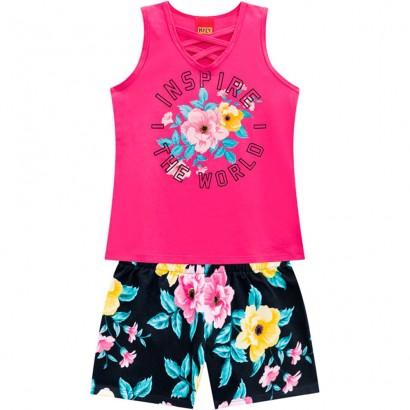 Conjunto Infantil Feminino Verão Rosa Inspire Kyly