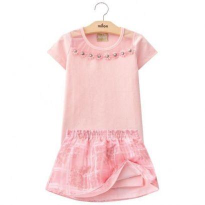 Conjunto Infantil Feminino Rosa Flor Milon