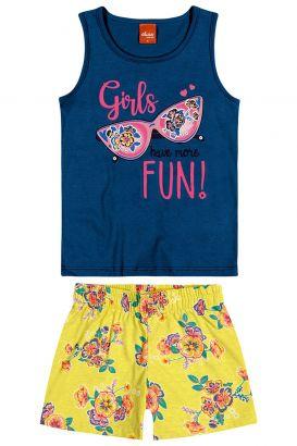Conjunto Infantil Feminino Verão Azul Girls Elian