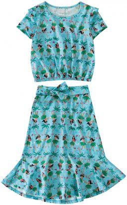 Conjunto Infantil Feminino Verão Azul Havaiana Malwee