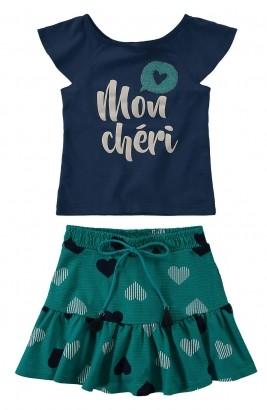 Conjunto Infantil Feminino Verão Azul Heart Malwee