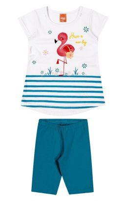 Conjunto Infantil Feminino Verão Branco Flamingo Elian