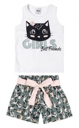 Conjunto Infantil Feminino Verão Branco Girls Elian