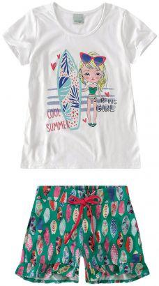 Conjunto Infantil Feminino Verão Branco Summer Malwee