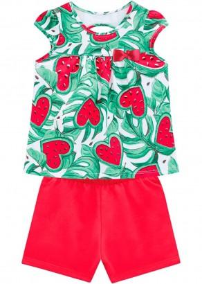 Conjunto Infantil Feminino Verão Branco Watermelon Kyly