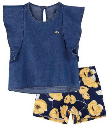 Conjunto Infantil Feminino Verão Jeans Flores Colorittá