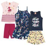 Conjunto Infantil Feminino Verão Kit 3 Marinho Elian